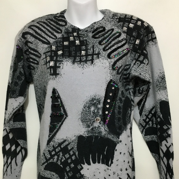 Cedars Sweaters - Cedars S Gray Black Wool Angora Sweater Sequins
